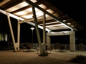 Sitting area under the Arthur Ravenel Jr. Bridge at the Mount Pleasant Memorial Waterfront Park