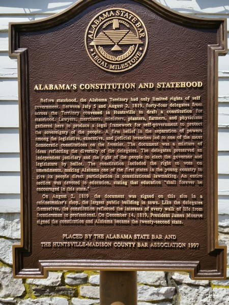 450x600 Alabama Constitution Village historic marker